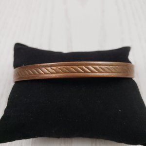 Jewelry - Solid Copper Textured Magnetic Cuff Bracelet